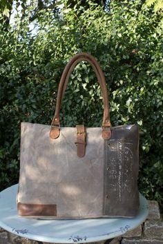Vintage Handtasche Tasche Schultertasche Canvas Canvastasche Leder Ledertasche Shopper