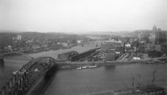 Pittsburgh 1950 - Looking at the Point from Mount Washington.  Bridges no longer there.