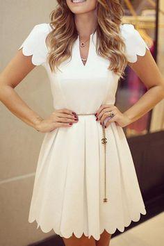 Style V Neck Short Sleeves Pleated Dress,Short Homecoming Dress Cute Dresses, Beautiful Dresses, Short Sleeve Dresses, Short Sleeves, Pleated Dresses, Cheap Dresses, Pleated Skirt, Robes Vintage, Vintage Dresses