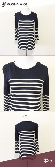 """J. Crew striped tee Brand: j. Crew Size: small Chest flat: 18"""" Length flat: 27"""" Material: 100% moda  Condition: GUC Minor pilling. Color is navy and white   ✔️⭐️⭐️⭐️⭐️⭐️ ✔️Shop with confidence, I'm a suggested user! ✔️Fast shipping! J. Crew Tops Button Down Shirts"""