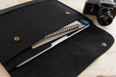 Black felt and leather MacBook Pro case by CitySheep.lt
