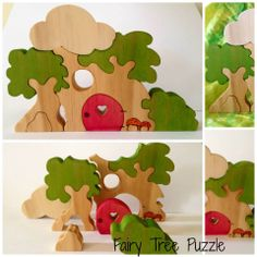 Aus only- Bidding starts at $10  Folkwood Original Woodland 8 piece Fairy Tree Puzzle wooden playset. 15cm high by 22cm long. Hand painted with woodburned detail.