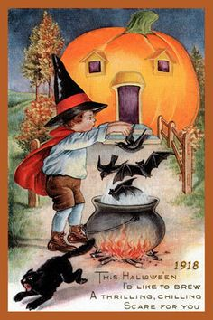 This Halloween I'd like to... #vintage #Halloween #cards #cute
