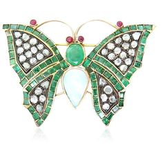 Gold Silver Diamond Emerald Ruby Opal Butterfly Brooch Available on our July 21st Auction @ hamptonauction.com