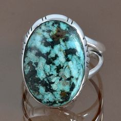 925 STERLING SILVER TURQUOISE FANCY RING JEWELLERY 4.78g DJR9103 SZ-7.5 #Handmade #Ring