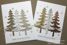 Santa's Sleigh Christmas Tree Christmas Card made with both brown papers and foil. Which version do you like best? https://www.stampinup.com/ecweb/ProductDetails.aspx?productID=140278&dbwsdemoid=54345