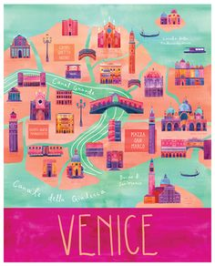 "Here & There - City Map Illustrations Cityscape illustrations of Paris, San Francisco, Vancouver, Venice, and Milwaukee from the series ""Here & There"" by Marisa Seguin. More of the city map. Rome Florence, Venice Map, Venice Travel, Venice City, Travel Illustration, Map Design, Travel Design, City Maps, Travel Maps"