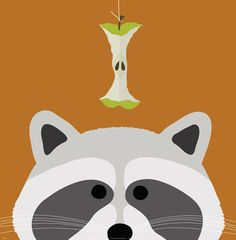 Peek A Boo Raccoon by Yuko Lau Childrens Poster Print | eBay