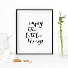 """Typographic Art """"Enjoy the Little Things"""" Wall Art Inspirational Quote Black and White Print Typographic Print Typography Quotes, Typography Prints, Typography Poster, Lettering, Inspirational Posters, Motivational Posters, Wall Prints, Poster Prints, Art Print"""