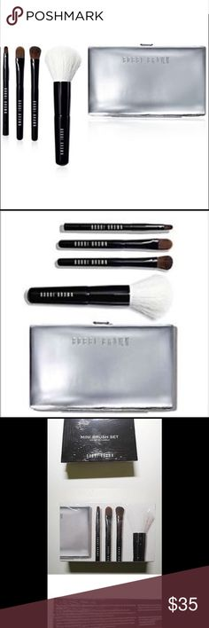 Bobbi brown mini brush set travel new Brand new in box sealed Bobbi brown mini brush set. Includes 4 high quality Bobbi borne professional grade makeup brushes and a sleek silver tone carrying case for them. This is great for travel and also a great gift idea. Retails for $80. No trades Bobbi Brown Makeup Brushes & Tools
