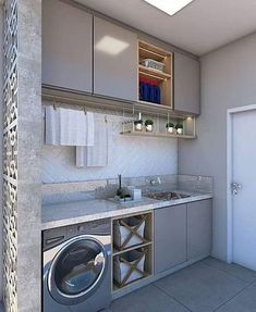 Not your typical laundry room ✨✨ Laundry Room Design, Home Repair, My House, Sweet Home, New Homes, Kitchen Cabinets, Home Appliances, Shabby Chic, Interior Design