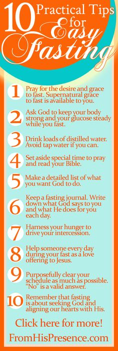 Practical tips for easy fasting. Very encouraging blog post!