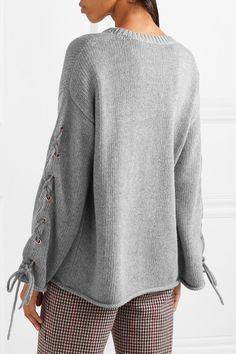 See by Chloé - Oversized Lace-up Knitted Sweater - Gray