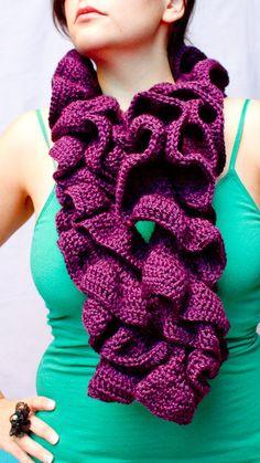 Dark purple fashionista ruffle scarf by CrazyConfections