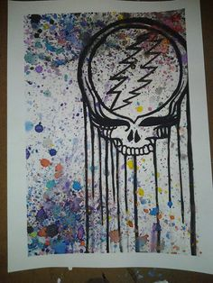 Splatter Grateful Dead Steal Your Face by MissysArtsnAntiques, $30.00