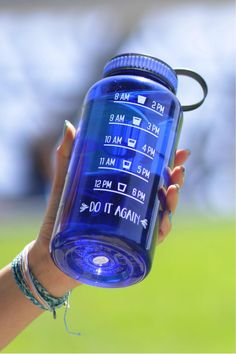 Choose To Be Happy Jewel Timer Bottle in Sapphire Blue - water levels & timing on nalgene