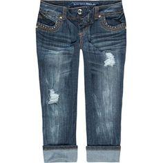 ALMOST FAMOUS Stud Button Womens Denim Crop Jeans - Polyvore