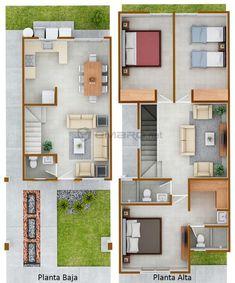 plano de casa en 3d render #casasmodernasinteriores Narrow House Plans, Duplex House Plans, Dream House Plans, House Floor Plans, Minimal House Design, Small House Design, House Construction Plan, Model House Plan, House Map