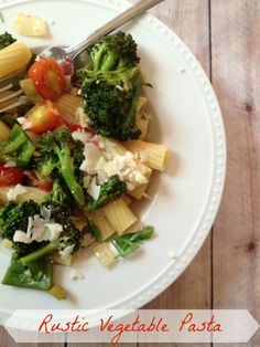 Rustic Vegetable Pasta - smaller cut pasta - like penne or rigatoni - broccoli - cherry tomatoes - green peppers - large green onion - 2 garlic cloves - fresh oregano - fresh chives - olive oil