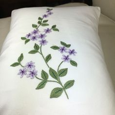 Hand Embroidered pillow cotton Very petty little flowers in lavender color This pillow goes well with any room Insert is polyester Can be wash in cold water Hang to dry and iron inside out The price is for one pillow Hand Embroidery Videos, Hand Work Embroidery, Hand Embroidery Designs, Christmas Embroidery Patterns, Embroidery Flowers Pattern, Pillow Embroidery, Embroidered Cushions, Fabric Paint Shirt, Crazy Quilt Stitches