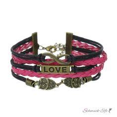 Armband  Euly Love pink schwarz  im Organza Beutel