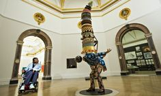 Artist Yinka Shonibare MBE with his new work Cake Man (II). Photograph: Felix Clay for the Guardian