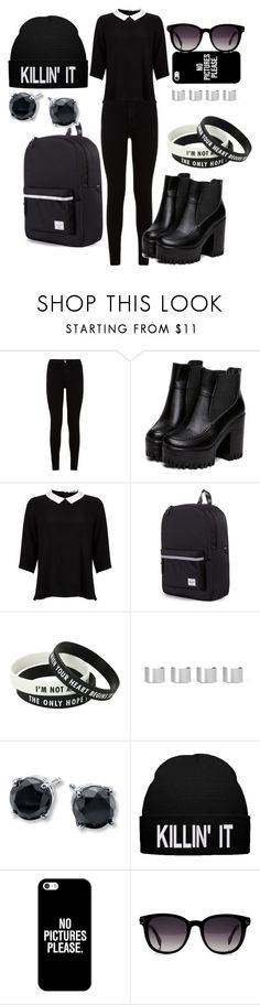 """Black Day"" by allynnehstyles on Polyvore featuring 7 For All Mankind, Lipsy, Herschel Supply Co., Maison Margiela, Casetify and Fendi"