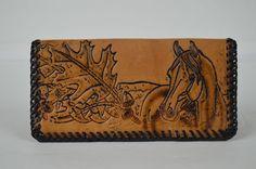 """#Vintage#Tooled#Leather #Western#Checkbookholder #Horse#OakLeaf#Acorn#7"""" x 4"""" #Handmade#checkbookcover#Brown#Leather"""