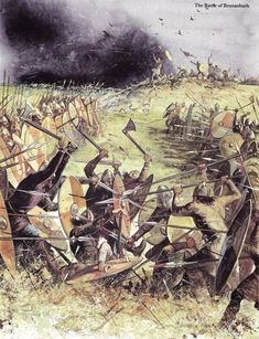 "The Battle of Brunanburh. It was the largest and bloodiest battle fought in Anglo-Saxon England prior to Hastings. King Athelstan of Wessex became the first Anglo-Saxon king to be called ""King of England"". Anglo Saxon History, European History, Dark Ages, Anglo Saxon Chronicle, Armadura Medieval, Early Middle Ages, Norse Vikings, Viking Age, Viking Battle"