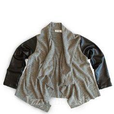 Joah Love Girls Pleather Sleeve Cardigan