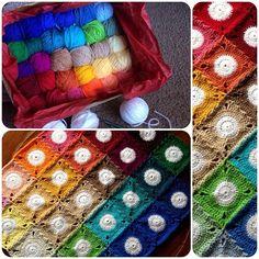 creative-randomness:  crochetmelovely:  cypresstextiles:  BabyLove Brand DIY Yarn Kit for bold palette White Circles Blanket || Kit includes...