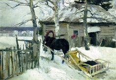 Konstantin Korovin - Winter. 900 Classic russian paintings. Download painting.