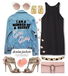 """""""Wardrobe Staple: Denim Jackets"""" by miee0105 ❤ liked on Polyvore featuring High Heels Suicide, Halcyon Days, Gucci, MANGO, Casadei, denimjackets and WardrobeStaples"""