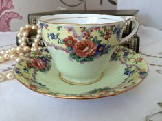 Vintage Pale Green Aynsley Teacup and by florenceforeverfinds