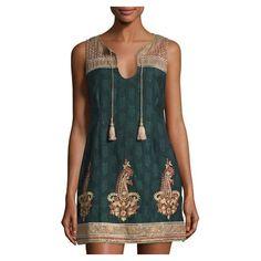 Calypso St Barth Svila Jacquard Sheath Dress, Dark Seaweed (15,310 INR) ❤ liked on Polyvore featuring dresses, jacquard sheath dress, sheath dresses, green dress, tassle dress and calypso st. barth