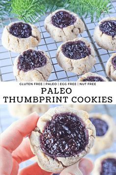 Thumbprint Cookies {Gluten Free Paleo} These classic paleo thumbprint cookies use a blackberry chia seed jam and are gluten free, dairy free and refined sugar free for a fun and healthy holiday treat! Quick Healthy Desserts, Desserts Keto, Lemon Desserts, Great Desserts, Paleo Dessert, Gluten Free Desserts, Dessert Ideas, Paleo Sweets, Healthier Desserts