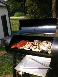 A customer loves his Brinkmann smoker so much, he sent us this photo. It's one of our best selling smokers. || Brinkmann Trailmaster Limited Charcoal / Wood Grill and Smoker