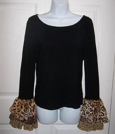 Womens Small to Medium Black Top Leopard Print Ruffle Cuffs Long Sleeves  New