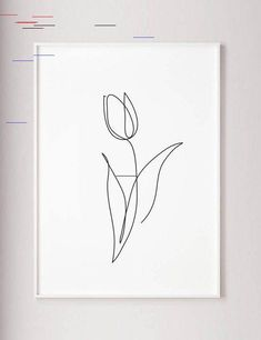 Tulip print, Flower wall art, Tulip one line art, Abstract minimalist decor, Line drawing, Wabi sabi art, Black and White wall art, poster Black And White Wall Art, White Walls, Flower Wall, Flower Prints, One Line Tattoo, Floral Wall Art, Minimalist Decor, Wabi Sabi, Line Drawing