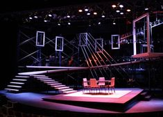 """An unidentified design--perhaps for """"Next to Normal?!""""  --NOTE how uneven levels and tilted walkways give the entire set an """"unsettled"""" feeling.  --DESIGN a set for """"Amadeus"""" that uses unconventional color to signify madness."""