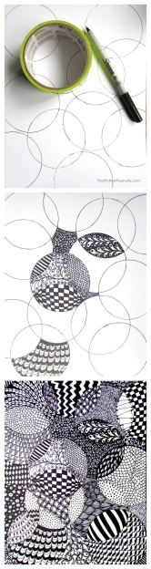 Art Activities for kids - Cool and and super-easy zentangle drawing project