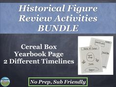 These 4 activities are a great review for any historical figure. Students create a yearbook page, cereal box, or 2 different timelines to show what they learned about people from the units studied throughout the year. Rubrics and sample layouts are included where appropriate. These would be great for a sub!