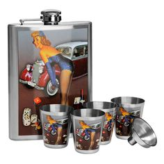 Hip Flask Set, Stainless Steel/Over the Bonnet Design, 8oz Flask/4 Cups/Funnel