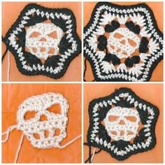 Pattern includes instructions for a off set, or straight up skull and 6 inch or 8 inch block. Pictures of almost every row. Written in US crochet terms