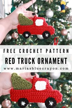 Crochet Red Truck Ornament - Free Pattern - Maria's Blue Crayon Crochet this iconic red truck as an ornament to hang on your tree this holiday! You can also use it as a gift card holder and give it away as a gift! Crochet Christmas Decorations, Crochet Ornaments, Diy Christmas Ornaments, Crochet Snowflakes, Crochet Ornament Patterns, Christmas Christmas, Holiday Crochet Patterns, Christmas Angels, Crochet Applique Patterns Free