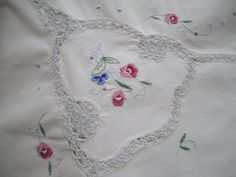 Ecru Embroidered Tablecloth with Crochet insets Floral Details nearly Square Table Cloth