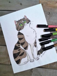 cat colouring page, kid's colouring, printable colouring page, cat and butterfly Kids Colouring, Cat Coloring Page, Printable Coloring Pages, How To Draw Hands, My Etsy Shop, Butterfly, Printables, Cats, Pretty