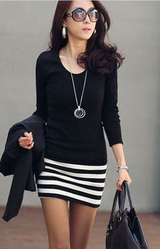free shipping women ladies' long sleeve 100% Cotton dress 2013 New stripped casual dress promotion black M L XL XXL Price   			 US $ 8.78