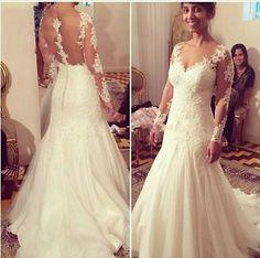 V-Ausschnitt lange Ärmel Brautkleid Spitze Ballkleid Hochzeitskleid Abendkleider