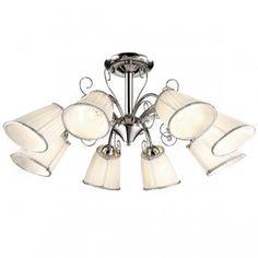 Потолочная люстра с хромированным основанием, рассчитана на восемь тканевых плафонов белого цвета, с лампочками под цоколь E14 мощностью по 40 Ватт, с расчетом освещения комнаты до 20 кв.метров.  2928/8C FORNELO - артикул Производителя  Фабрика - Odeon Light (Италия)